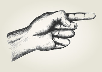 Sketch illustration of pointing hand