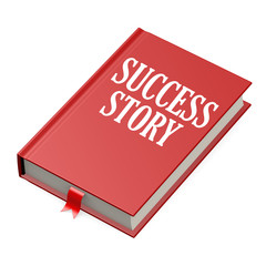 Isolated red book with success story
