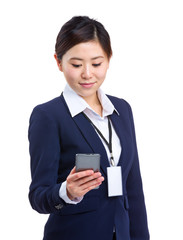 Business woman use cellphone for text message