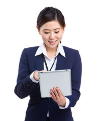 Business woman touch on tablet