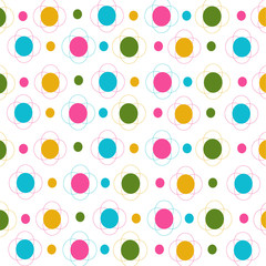 Flowers and dots seamless pattern