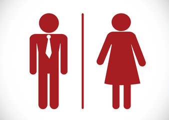 Restroom icon and Pictogram Man Woman Sign