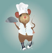 Mouse Chef with Hat and Plate. Illustration Vector