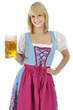 Frau im Dirndl trinkt Bier zum Oktoberfest