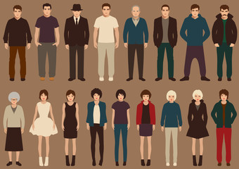 fashion vector collection of people, cartoon retro characters