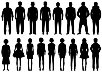 vector group of people silhouettes,