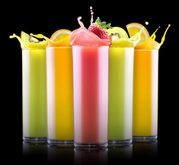 tasty summer fruits with juice in glass