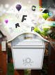 Post box with colorful letters