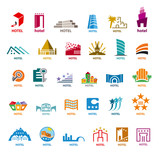 Fototapety biggest collection of vector logos buildings for leisure tourism