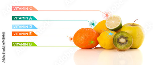 canvas print picture Healthy fruits with colorful vitamin symbols and icons