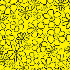 chamomile flowers seamless pattern