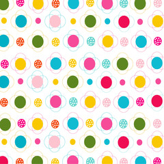 Colorfull flowers and dots seamless pattern