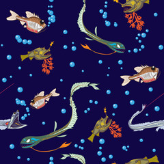 deep-sea fishes seamless
