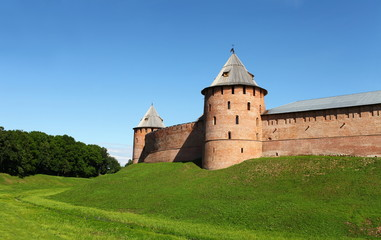 Fortress wall with towers Novgorod Kremlin