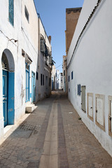tunisia narrow street of the old town at noon