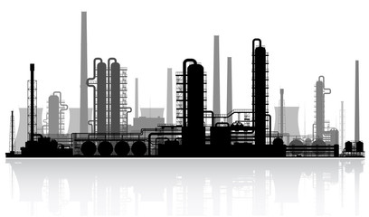Oil refinery silhouette. Vector illustration.
