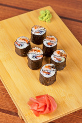 sushi rolls with tobico and pancake