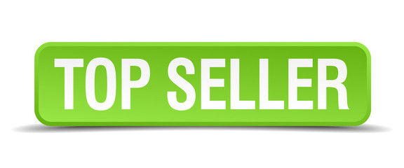 top seller green 3d realistic square isolated button