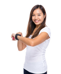 Woman with smart watch