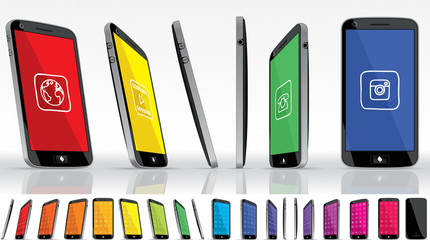 Black Smart Phone - Multiple Views