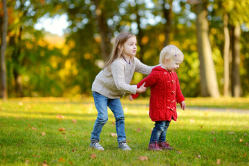 Two sisters having fun in beautiful autumn park