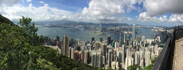 Panorama view of Victoria Harbor in Hong Kong
