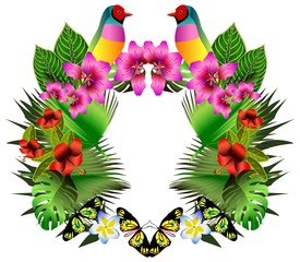 Tropical flowers and leaves and beautiful bird, bright illustrat