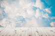 blue sky and clouds with platform