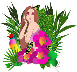 Tropical flowers and leaves and beautiful woman