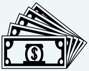 Stack dollars banknotes