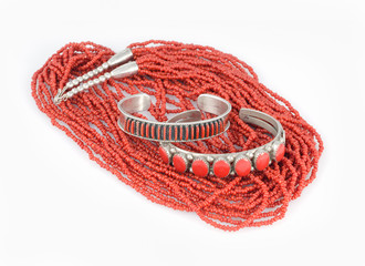 Sterling Silver and Coral Bracelets with Bead Necklace.
