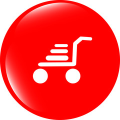 Shopping cart icon on internet button original illustration