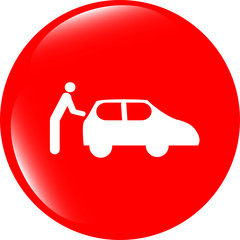 man and car on web icon (button) isolated on white