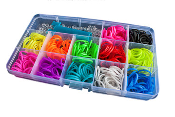 Box with colorful rubber bands for rainbow loom
