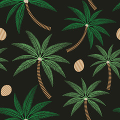 Palm trees and coconuts seamless pattern on dark background