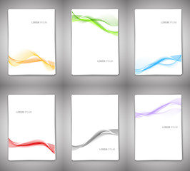 Set of backgrounds with wavy lines