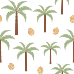 Palm trees and coconuts vintage vector seamless pattern