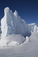 steep side of the dome of the iceberg that is frozen in Antarcti