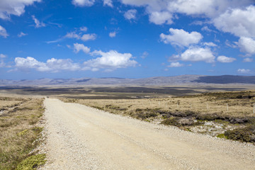Panoramic Gravel road on East Falkland