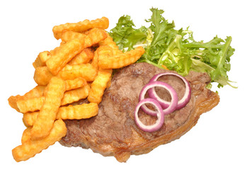 Steak And Chips With Lettuce