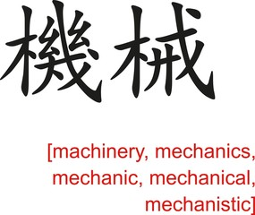 Chinese Sign for machinery, mechanics, mechanic, mechanical