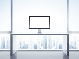Computer display on a table