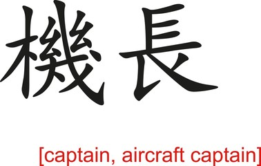 Chinese Sign for captain, aircraft captain