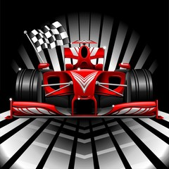 Formula 1 Red Race Car and Chequered Flag