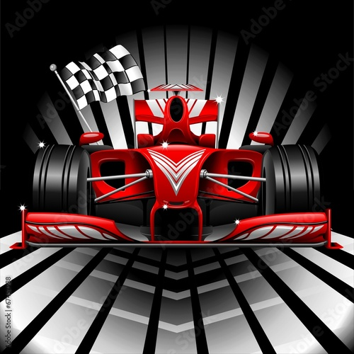 Fototapeta Formula 1 Red Race Car and Chequered Flag