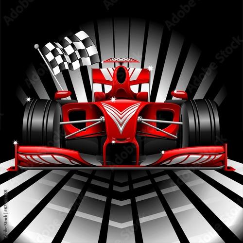 samochod-wyscigowy-formuly-1-i-flaga-w-szachownice