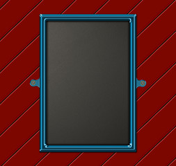 Modern chalkboard on red painted wood paneling