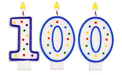 Birthday candles number one hundred isolated on white background