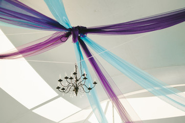Purple & Turquoise Tent Wedding Ceiling Decorations