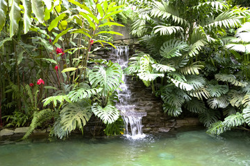 Swimming pool with a waterfall and hot thermal water